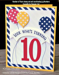 SUO Boys Birthday Card With Number Of Years By Krissiestamps