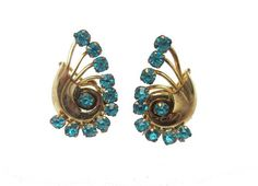 Blue Rhinestone Earrings  Art Deco Gold Plated  signed 1/20