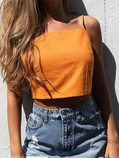 We are making crop top a must-have for every club girl's wardrobe this season. This sexy crop top features adjustable spaghetti straps, sleeveless, bow decor back and light fabric. Pair with denim skirt for a stylish look. Weird Fashion, Look Fashion, Teen Fashion, Fashion Outfits, Womens Fashion, Edgy Summer Fashion, Cheveux Oranges, Jeans Rock, Trendy Outfits