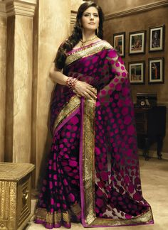 Zarine Khan Black and Magenta Party Wear Saree