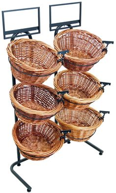 3 Tier Basket Stand with 6 Bins, Sign Clips, Wicker - Black