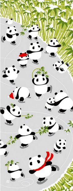 Japanese Tenugui Cotton Fabric, Hand Dyed Fabric, Kawaii Panda, Skate, Funny Animal Pattern, Winter, Wall Art Hanging, Gift Wrapping, JapanLovelyCrafts