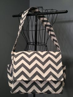 Messenger Style Diaper Bag  Grey Chevron by onesweetworldtreats, $45.00