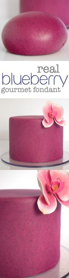 Gourmet Blueberry Fondant from scratch using REAL blueberries! Find out how to make this amazing flavored and naturally colored fondant at Kara's Couture Cakes!
