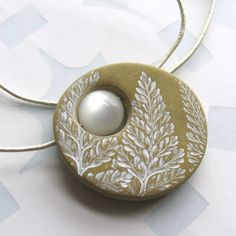 Frost Fern Necklace Polymer Clay and Moonglow Bead by UnaOdd