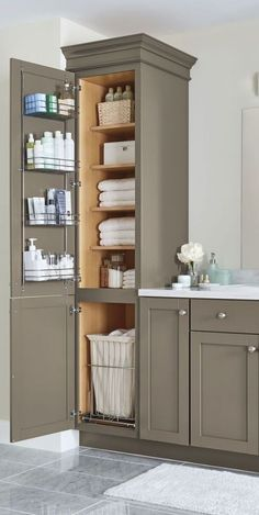 35 Good Small Bathroom Storage Organization Ideas Finding the right Small Bathroom Remodel ideas is tricky since the bathroom remodel can be challenging. Bathroom Vanity Decor, Small Bathroom Storage, Bathroom Renos, Bathroom Ideas, Diy Bathroom Cabinets, Linen Cabinet In Bathroom, Simple Bathroom, Bathroom Pink, Vanity For Small Bathroom