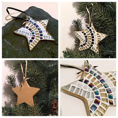 Entertaining Decor, Art Deco Ornament, Art Deco Home Accent, Hostess Gift, Silver Gold Mosaic Star Ornament, Stocking Stuffer, Table Decor