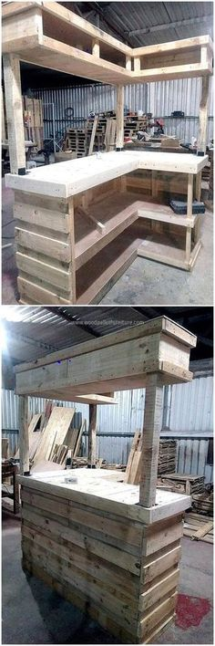 Now here is an idea for a huge wood pallet bar, it can be copied for the business purpose like if any person has a bar and he/she wants something to serve the guests. There is enough space to place the wine bottles in a perfect way. ANOTHER IDEA 4 ALLEN Palet Bar, Wood Pallet Bar, Wooden Pallets, Pallet Walls, Pallet Work Bench, Pallet Counter, Outdoor Pallet Bar, Pallet Patio, Wooden Sheds