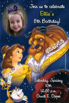 Beauty and the Beast Birthday Invitations -  Get these invitations RIGHT NOW. Design yourself online, download and print IMMEDIATELY! Or choose my printing services. No software download is required. Free to try!