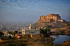 Beauty of Rajasthan - I captured this view while travelling in Rajasthan, India a few days ago.      The structure in the foreground is Jaswant Thada.The Jaswant Thada is an architectural landmark located in Jodhpur. It is a white marble memorial built by Maharaja Sardar Singh of Jodhpur State in 1899 in memory of his father, Maharaja Jaswant Singh.    The big structure on top of the high hill is Mehrangarh Fort which is one of the largest forts in India. The fort is situated 400 feet (122…