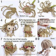 Mimin Dolls: cabelo de croche para doll.  Crochet wig for an amigurumi doll.  I like the principle, but would not glue the hair.  Use needle and thread!