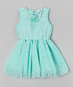 Look at this Turquoise Polka Dot Lace Dress Necklace - Toddler Girls by Frills du Jour Girls Dresses, Prom Dresses, Summer Dresses, Little Fashionista, Toddler Fashionista, Turquoise, Dress To Impress, Lace Dress, Kids Outfits