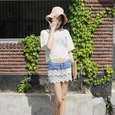 Lace-Trimmed Denim Shorts