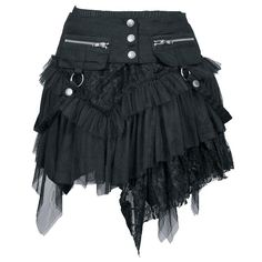 Preciosa minifalda con múltiples capas, longitud: 50 cm. Con cinturón separado, cremalleras y anillas D. La minifalda esta compuesta por diferentes materiales A+B+C (A: 95% algodón, 5% elastán, B:...
