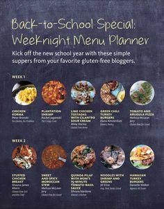 Easy Eats - 5 week gluten free dinner plans