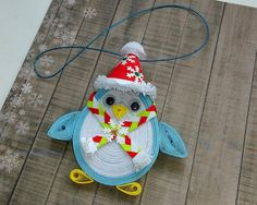 Quilling art Christmas ornament Christmas penguin 3D quilling Christmas tree toy…