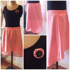 Skirt and puff brooch with vintage button made by 11 yr old student in half day school holiday workshop.