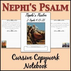 LDS Notebooking: Nephi's Psalm Copywork Notebook - Cursive- Tons of scriptural cursive copywork notebooks on this site!