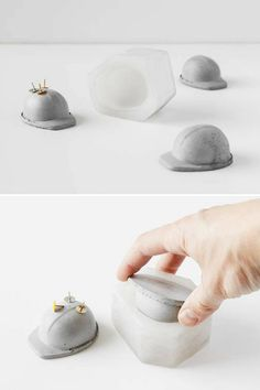 Silicone mold for making souvenir for builders, in construction helmets.It can be a magnet made from concrete for storing paper clips and buttons on the desktop. This looks so awesome. #ad #concrete #siliconemold #manufacturer #helmet #cement #desk #decoration #giftidea #office