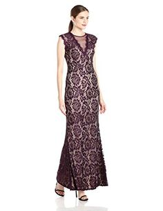 Betsy  Adam Womens Long Lace Deep V PlumNude 10 *** Read more  at the image link.