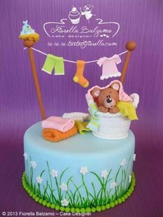 Just Lovely ♥ baby shower cake Baby Cakes, Cupcake Cakes, Torta Baby Shower, Beautiful Cakes, Amazing Cakes, Teddy Bear Cakes, Fantasy Cake, Shower Bebe, Novelty Cakes