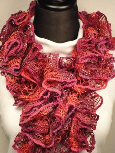 Cranberry/Plum Ruffle Scarf - Crocheted Ladies Plum Scarf - Crocheted Scarves - Dark Pink Ruffle Scarf - Ruffle Scarves by HappyNanaba, $9.00 USD