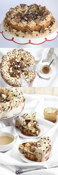 Peanut Butter Cup Cookie Cake Recipe ~ A fluffy light cake filled with peanut butter cups, chocolate chip cookies and peanut butter frosting.