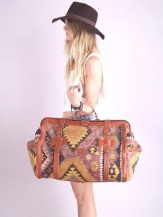 Vtg 70s Southwest Navajo Kilim Leather Weekender Bag
