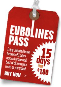 Eurolines Pass: Enjoy unlimited travel between 51 cities across Europe and, best of all, plan you route as you travel! 15 days from €180. Buy Now»