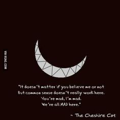 The chesire cat, ladies and gentlemen. Great Quotes, Quotes To Live By, Inspirational Quotes, Movie Quotes, Book Quotes, Mad Quotes, Time Quotes, Cheshire Cat Quotes, Cheshire Cat Art