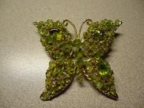 "Vintage Green Gemstone Butterfly Pin-Brooch 2 3/4"" x 2"""