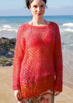 Pullover mit Netzmuster, Garnpaket zu Modell 6 aus Rebecca Nr. 61, gestrickt aus ggh-Garn KIDSEDA & KID)