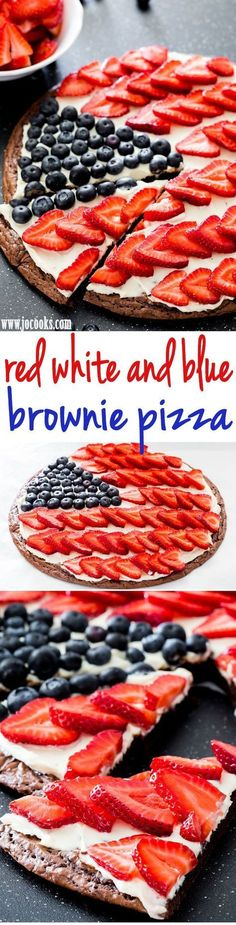 Or sugar cookie pizza! Red White and Blue Brownie Pizza - the perfect dessert for your of July celebration. A delicious brownie crust topped with a cream cheese frosting and loaded with berries! Patriotic Desserts, 4th Of July Desserts, Fourth Of July Food, Köstliche Desserts, Holiday Desserts, Holiday Recipes, Dessert Recipes, July 4th, Patriotic Crafts