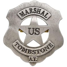Tombstone Us Marshal Badge - Cowboy Sheriff/Ranger Wild West Replica Swords, King Arthur Legend, Law Enforcement Badges, Us Marshals, Family Painting, Hard Metal, Tree Sculpture, Block Lettering, Wild West
