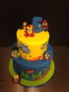 Minion superhero birthday cake