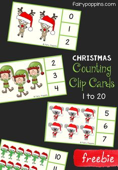 Free Christmas number clip cards. There are counting clip cards and reading numbers clip cards for the numbers 1 to 20. These are great for developing fine motor skills and are a fun addition to Christmas math centers. Perfect for kids in preschool and kindergarten. #Christmasactivities #preschoolmath #kindergartenmath #freeprintables #fairypoppins #fairypoppinsresources Preschool Christmas Activities, Free Preschool, Preschool Printables, Counting Activities, Preschool Themes, Kindergarten Activities, Christmas Games For Preschoolers, Christmas Maths, Winter Activities