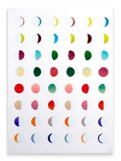 moon phases printed w/a twelve-colour screenprint.