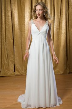 Empire V-neck Beaded Straps Chiffon Wedding Dress-we0001,  $229.95