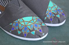 Geometric Mosaic Mandala Custom Painted TOMS Shoes (SOS brand shown).  This original mosaic mandala design was painted using shades of teal and blue