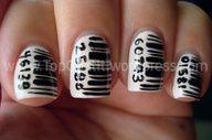 black and white bar code / UPC nails nail art design