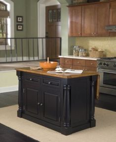 Home Styles Monarch Black Kitchen Island With Seating Kitchen Islands For Sale, Kitchen Island With Granite Top, Granite Tops, Kitchen Island With Seating, Black Granite, Granite Kitchen, Oak Island, Island Blue, Black Kitchens