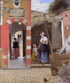 Pieter de Hooch, The courtyard of A House in Delft.I think I had labeled this incorrectly as Johannes Vermeer. He produced a painting of this same area in Delft. Johannes Vermeer, Pieter De Hooch, Oil On Canvas, Canvas Art, Canvas Paper, National Gallery, Baroque Art, Baroque Painting, Dutch Golden Age