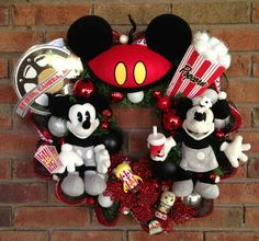 Mickey and Minnie Mouse Wreath by SparkleForYourCastle on Etsy Disney Christmas Ornaments, Mickey Mouse Christmas, Minnie Mouse, Wreath Crafts, Ribbon Crafts, Deco Mesh Wreaths, Ribbon Wreaths, Disney Wreath, Disney Diy Crafts