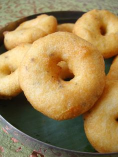 Vadas - light and fluffy on the inside with a crisp exterior and packed with flavor. Usually served with sambar and chutney.