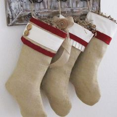 Burlap Personalized Christmas Stocking with red accents and 2 buttons. $35.00, via Etsy.