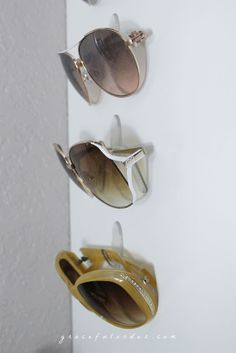 12 Ways to Organize with Command Hooks - organize sunglasses :: OrganizingMadeFun.com