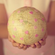 Get a globe like this. Pin point the places U want to visit. (my 'globe' would have sooo much pink! Mellow Yellow, Pink Yellow, Giving Hands, Childrens Wall Art, Map Globe, Before I Die, We Are The World, We Heart It, Hold On