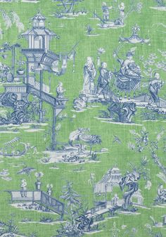 CHENG TOILE, Green and Blue, F975467, Collection Dynasty from Thibaut