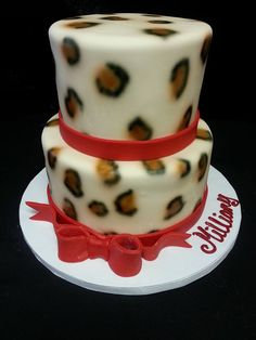 Cookie Jar Bakeshop I Custom Cakes I Birthday Cake I Animal Print Themed Birthday Cake I Giraffe Themed Cake I Two Tier Animal Print Cake I  Animal Print & White Cake