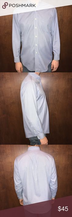 "Brooks Brothers Blue Dress Shirt Brooks Brothers dress shirt with really nice texture and fabric. Original polo shirt. Size 15.5-2/3  ✔️Good condition ✔️Smoke free home ✔️Model is 6'1"" 200 pounds ✔️Offers welcome Brooks Brothers Shirts Dress Shirts"